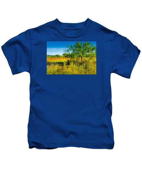 Texas Hill Country Wildflowers Kids T-Shirt