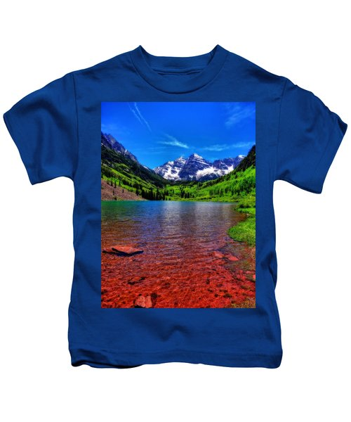 The Colors Of Maroon Bells In Summer Kids T-Shirt