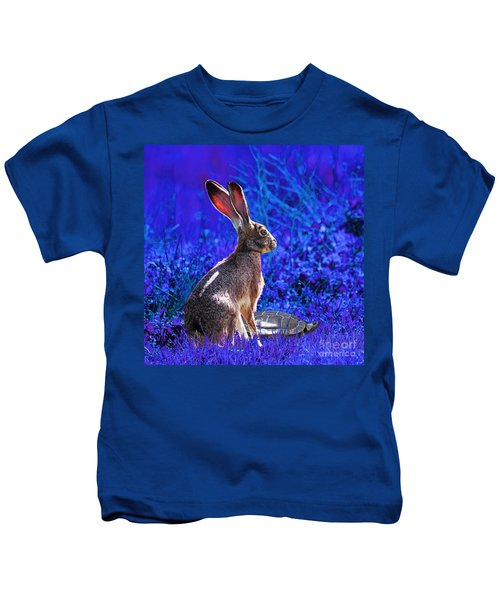 The Tortoise And The Hare . Blue Square Kids T-Shirt