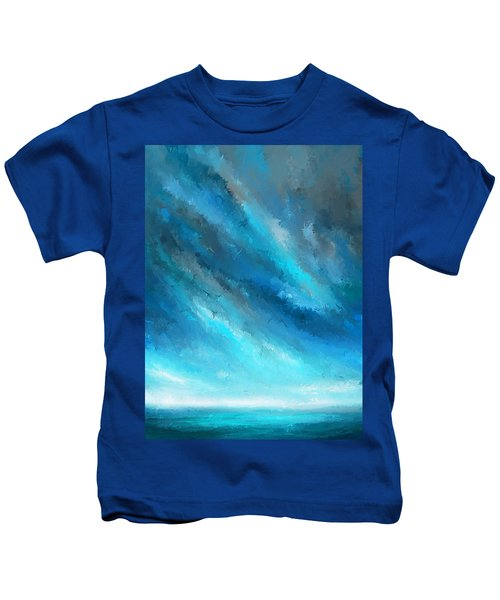Turquoise Memories - Turquoise Abstract Art Kids T-Shirt