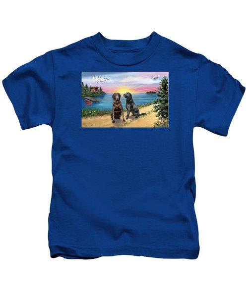 Two Labs At The Lake Kids T-Shirt