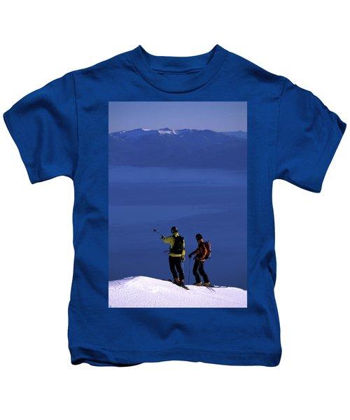 Two Male Backcountry Skiers Enjoy Kids T-Shirt