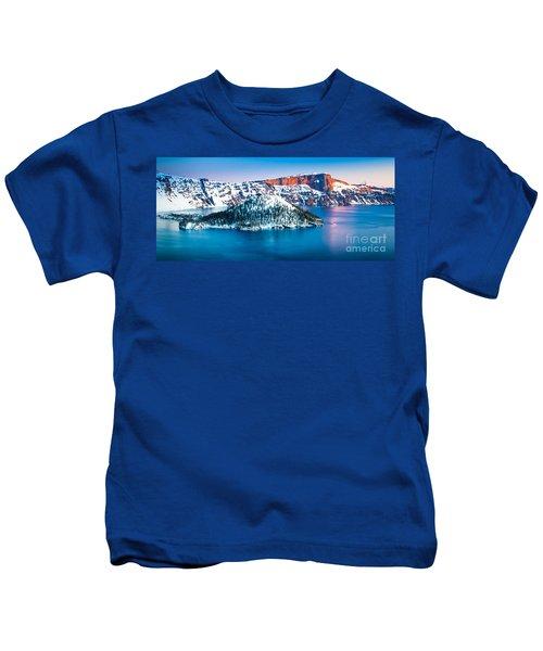 Winter Morning At Crater Lake Kids T-Shirt