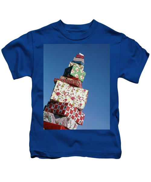 Wrapped Christmas Present Stacked Kids T-Shirt