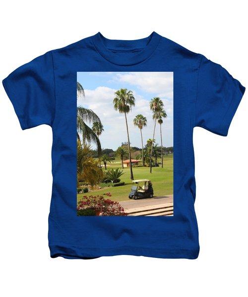 Golf Cart In Golf Course Kids T-Shirt