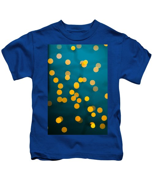 Green Background With Gold Dots  Kids T-Shirt