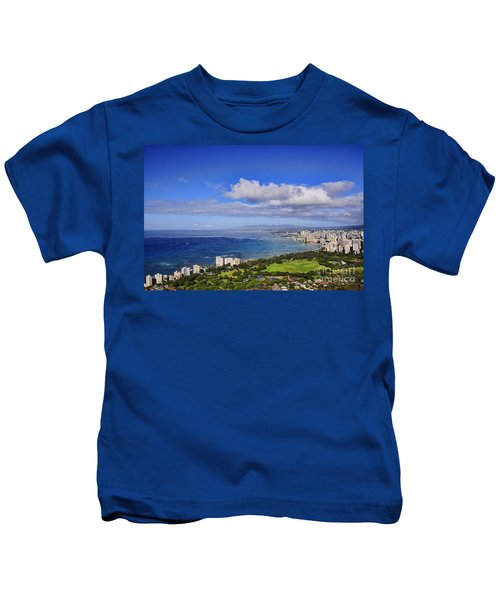 Honolulu From Diamond Head Kids T-Shirt