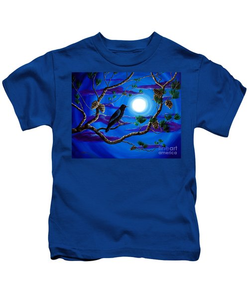 Raven In Pine Tree Branches Kids T-Shirt