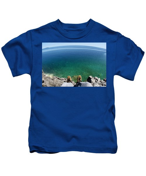Sitting On A Cliff Kids T-Shirt