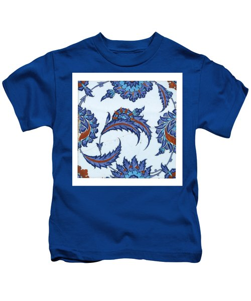An Iznik Polychrome Pottery Tile Kids T-Shirt