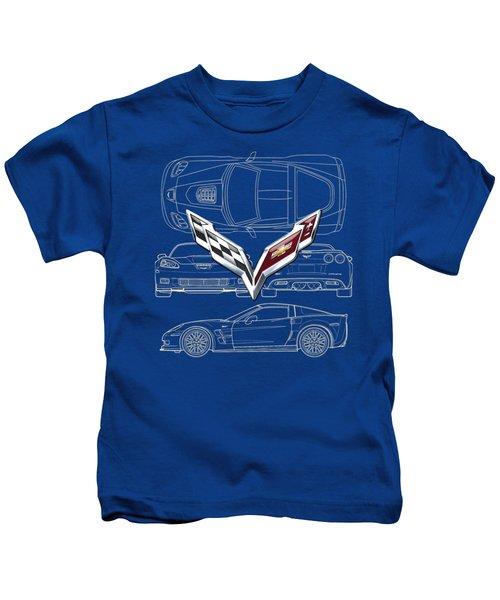 Chevrolet Corvette 3 D Badge Over Corvette C 6 Z R 1 Blueprint Kids T-Shirt