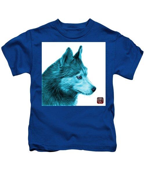 Cyan Siberian Husky Art - 6048 - Wb Kids T-Shirt