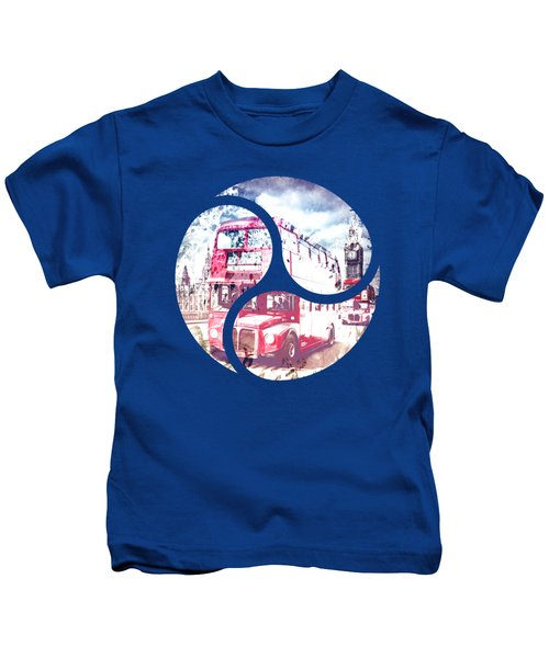 Graphic Art London Westminster Bridge Streetscene Kids T-Shirt by Melanie Viola