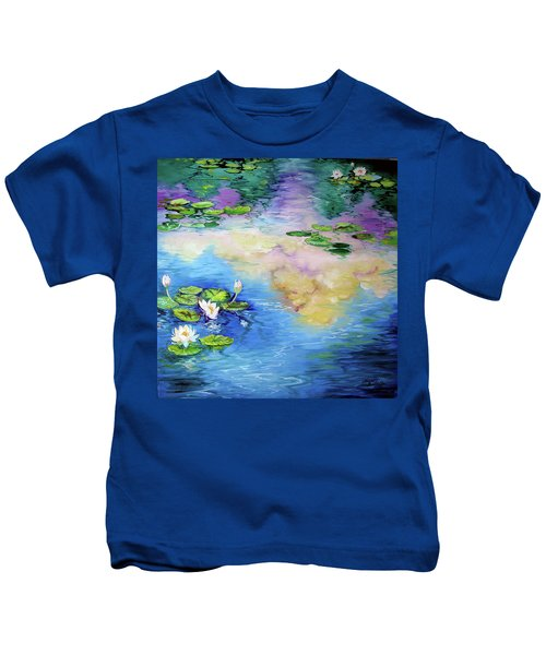 Reflections On A Waterlily Pond Kids T-Shirt