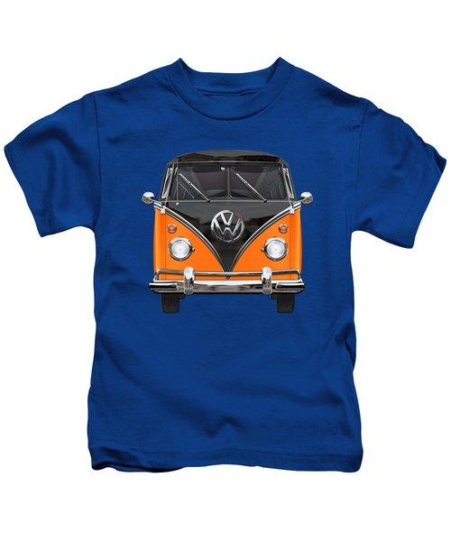 Volkswagen Type 2 - Black And Orange Volkswagen T 1 Samba Bus Over Blue Kids T-Shirt by Serge Averbukh