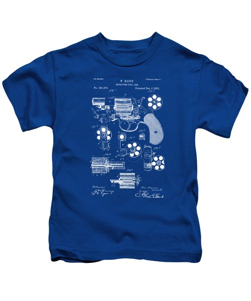 1881 Colt Revolving Fire Arm Patent Artwork - Blueprint Kids T-Shirt