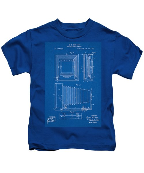 1891 Camera Us Patent Invention Drawing - Blueprint Kids T-Shirt