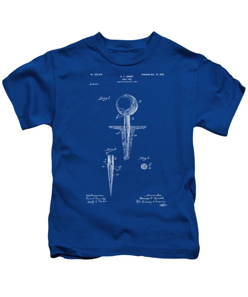 1899 Golf Tee Patent Artwork - Blueprint Kids T-Shirt by Nikki Marie Smith