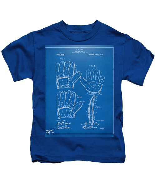 1910 Baseball Glove Patent Artwork Blueprint Kids T-Shirt by Nikki Marie Smith