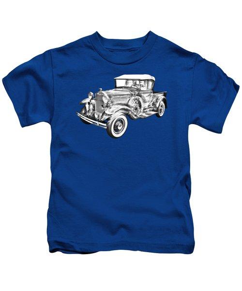 1930 Ford Model A Pickup Truck Illustration Kids T-Shirt by Keith Webber Jr