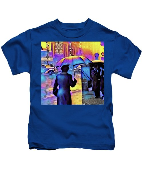 1940s Times Square Rain IIl Kids T-Shirt