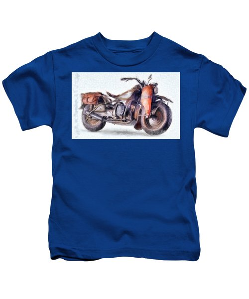 1942 Harley Davidson, Military, 750cc Kids T-Shirt