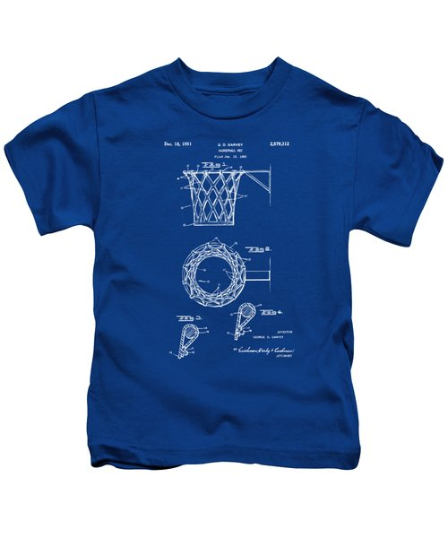 1951 Basketball Net Patent Artwork - Blueprint Kids T-Shirt