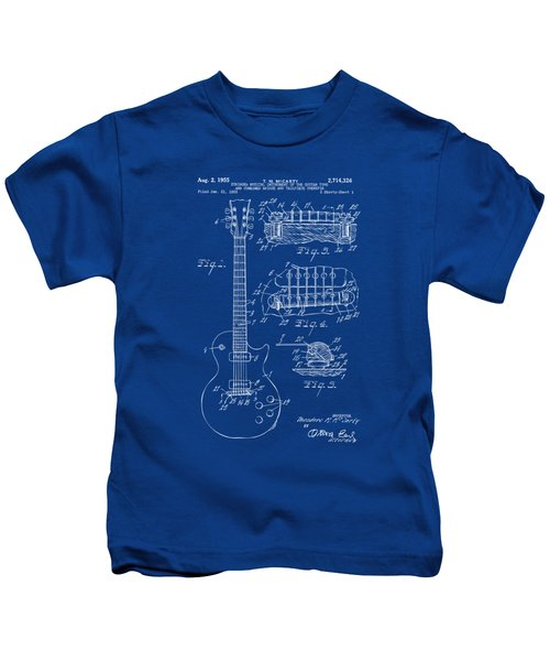 1955 Mccarty Gibson Les Paul Guitar Patent Artwork Blueprint Kids T-Shirt