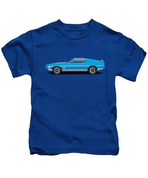 1971 Ford Mustang Mach 1 - Grabber Blue Kids T-Shirt