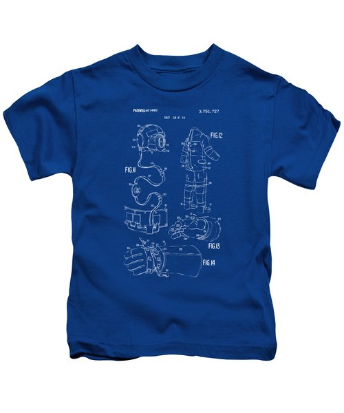 1973 Space Suit Elements Patent Artwork - Blueprint Kids T-Shirt by Nikki Marie Smith