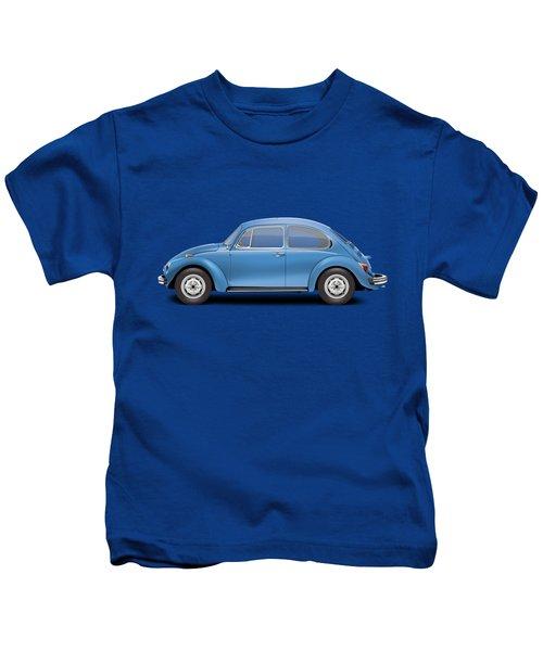 1975 Volkswagen Super Beetle - Ancona Blue Metallic Kids T-Shirt by Ed Jackson