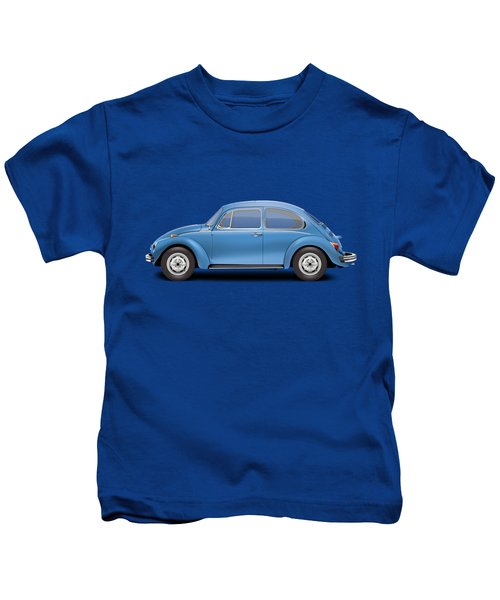 1975 Volkswagen Super Beetle - Ancona Blue Metallic Kids T-Shirt