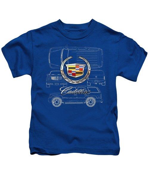 Cadillac 3 D Badge Over Cadillac Escalade Blueprint  Kids T-Shirt