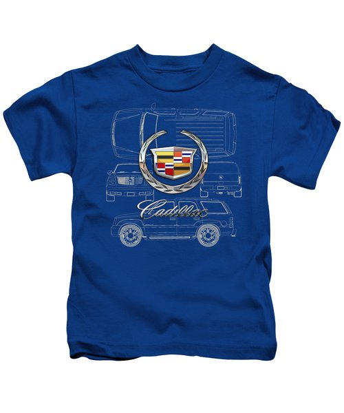 Cadillac 3 D Badge Over Cadillac Escalade Blueprint  Kids T-Shirt