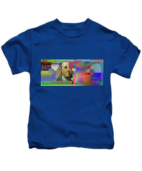 2009 Series Pop Art Colorized U. S. One Hundred Dollar Bill No. 1 Kids T-Shirt