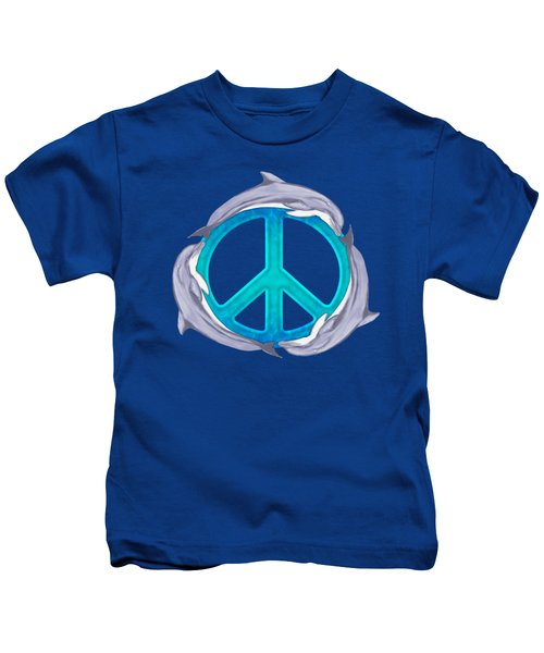 Dolphin Peace Kids T-Shirt by Chris MacDonald