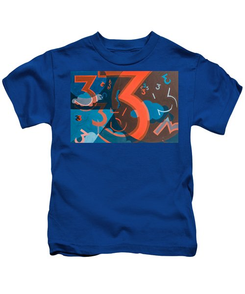 3 In Blue And Orange Kids T-Shirt