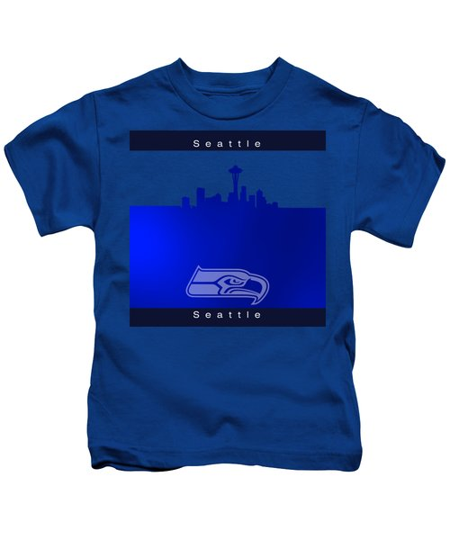 Seattle Seahawks Skyline Kids T-Shirt by Alberto RuiZ