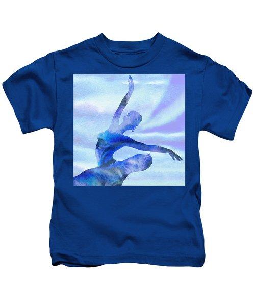 Watercolor Ballerina Silhouette By Irina Sztukowski Kids T-Shirt