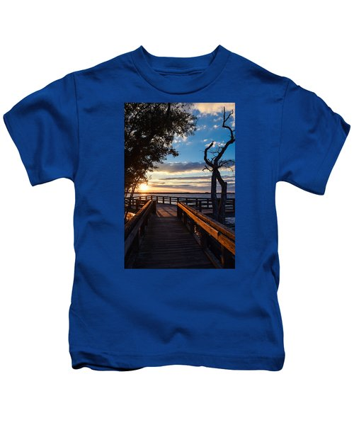 Sunset On The Cape Fear River Kids T-Shirt