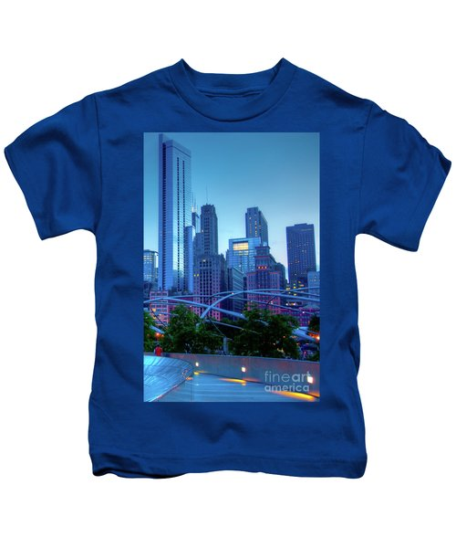 A View Of Millenium Park From The Amoco Bridge In Chicago At Dus Kids T-Shirt