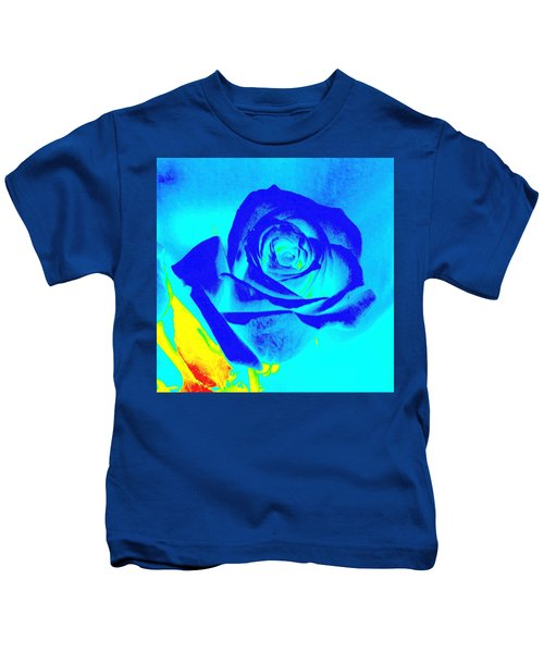 Single Blue Rose Abstract Kids T-Shirt