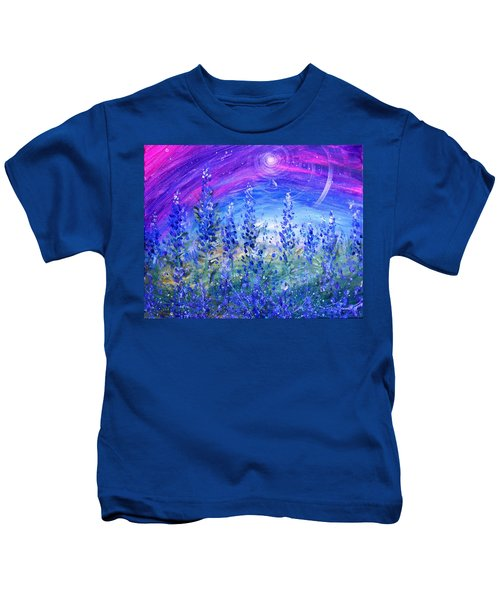 Abstract Bluebonnets Kids T-Shirt