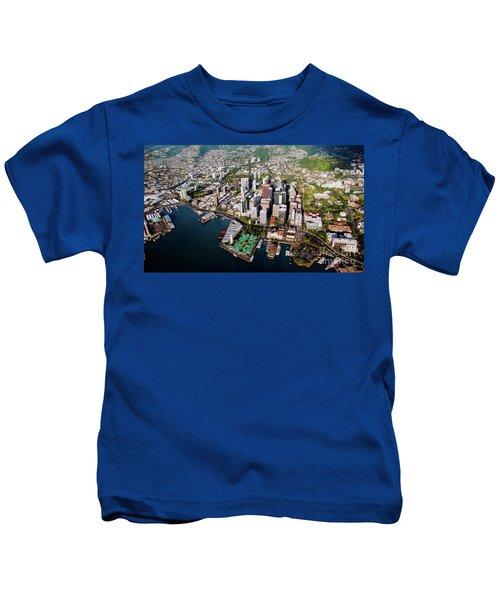 Aerial Panorama - Downtown - City Of Honolulu, Oahu, Hawaii  Kids T-Shirt