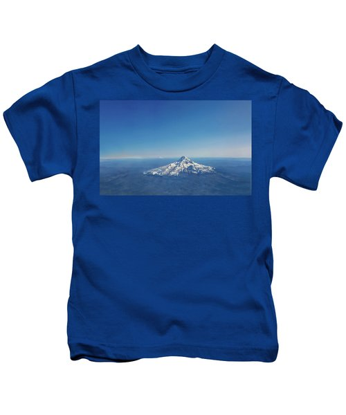 Aerial View Of Snowy Mountain Kids T-Shirt