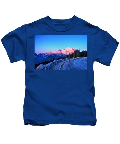 Alpenglow At Mt. Rainier Kids T-Shirt