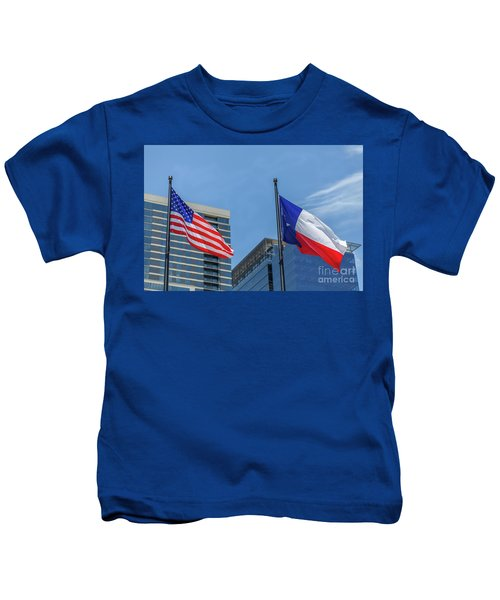 American And Texas Flag On Top Of The Pole Kids T-Shirt