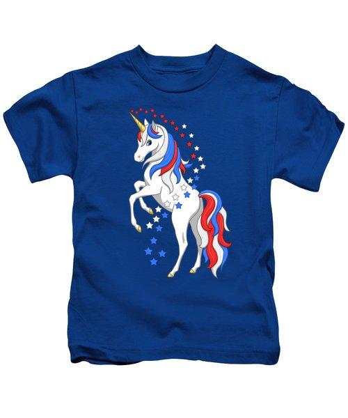 American Flag Patriotic Unicorn Kids T-Shirt