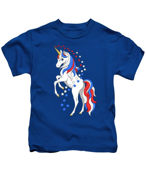 American Flag Patriotic Unicorn Kids T-Shirt