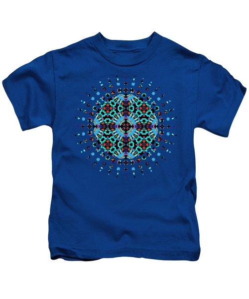 Aqua Geometric Mandala Kids T-Shirt